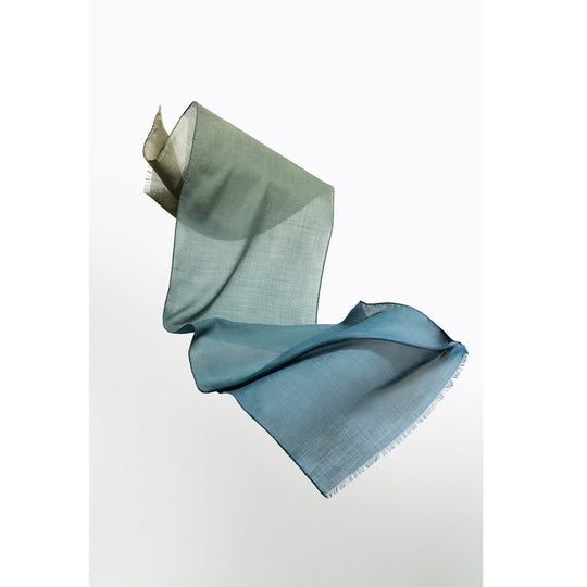 Moss wool scarf designed by Niki Fulton. Blues and greens