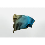 Moss silk pocket square designed by Niki Fulton. Greens and blues silk.