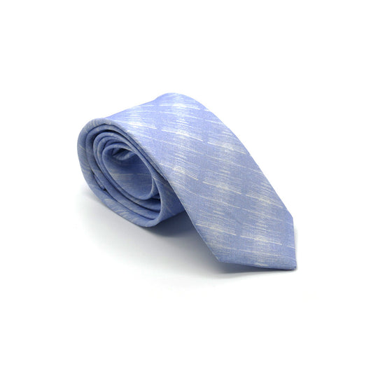 Prufrock blue Linen Tie designed by Niki Fulton. Blue & white abstract print.
