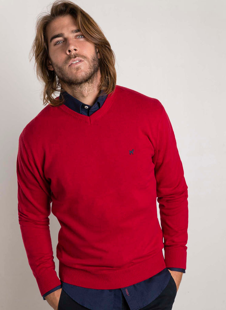 Sweater Cuello Pico Burdeo