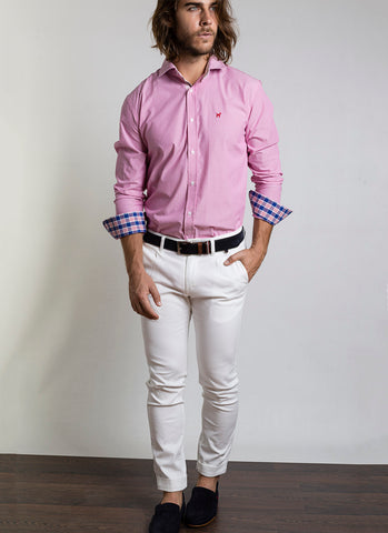Camisa Regular Estampado Rosa