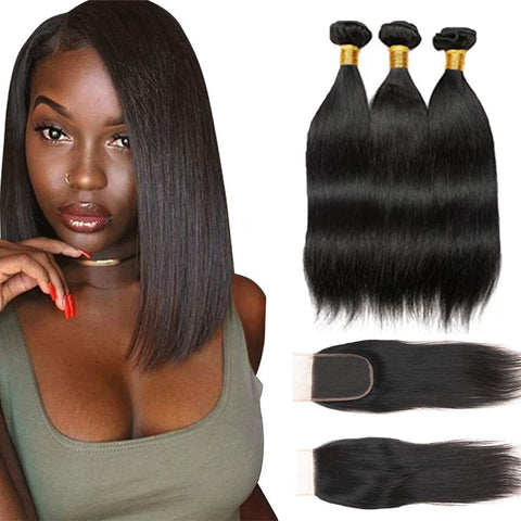 "3 Bundles Indian Remy 12"" Straight Human Hair Weave with Top Lace Closure 4X4"