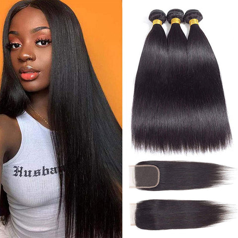 "3 Bundles Indian Remy 18"" Straight Human Hair Weave with Top Lace Closure 4X4"