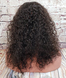 "18"" In Stock 13x6 Indian Remy Lace Frontal Half Wig in Curly Texture"