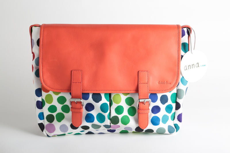 Besace pois multicolores et cuir orange