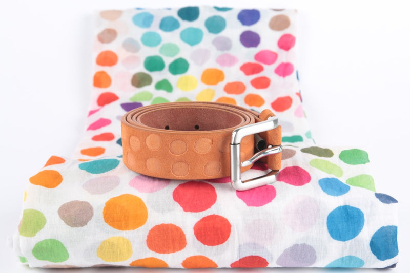 ceinture daim orange pois