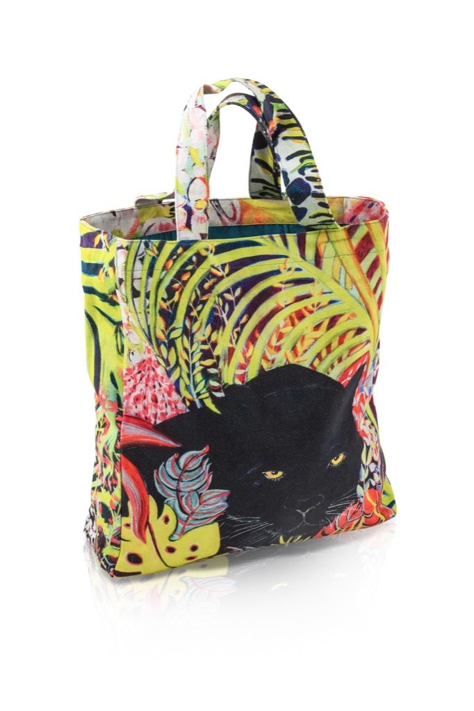 sac cabas multicolore motif animalier La Panthère by Sophie Jourdan