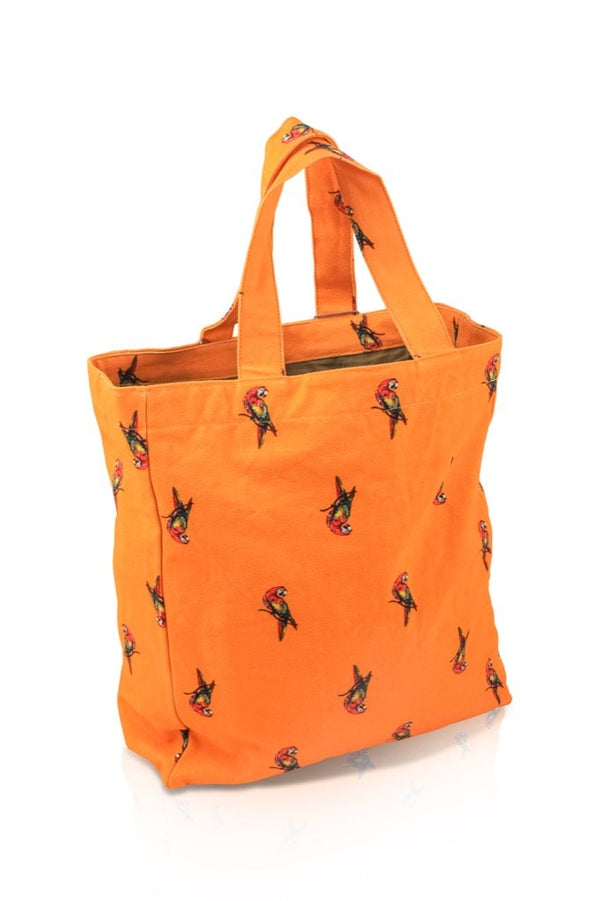 sac cabas orange motif perroquets by Sophie Jourdan
