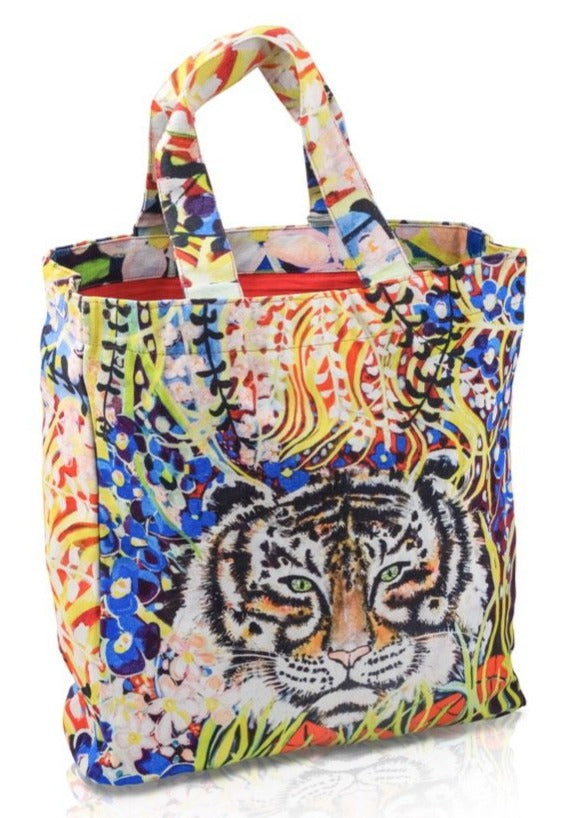 sac cabas multicolore motif animalier Le Tigre by Sophie Jourdan