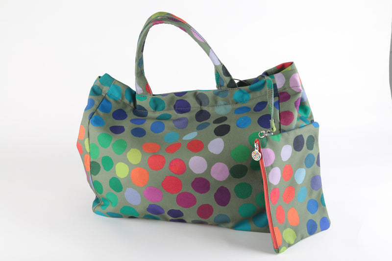 Grand sac kaki et pois multicolores