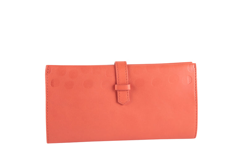 Porte-chéquier cuir orange et pois multicolores