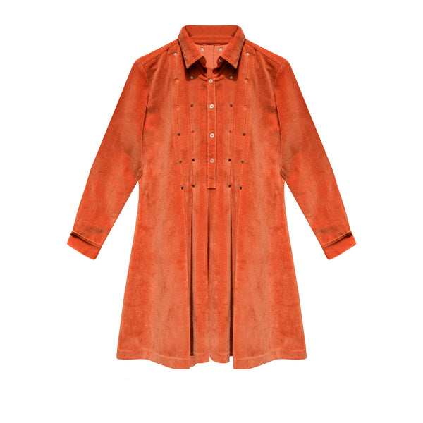 Robe velours orange