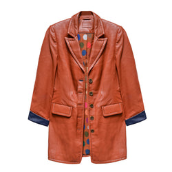 Longue veste cuir orange potiron