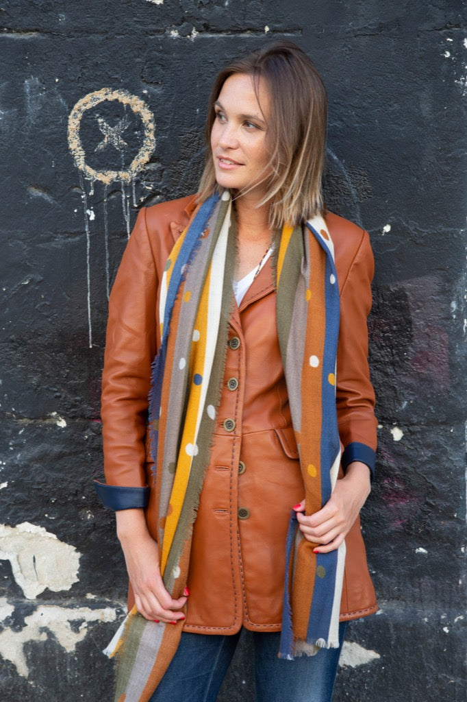 the veste 3/4 en cuir cognac
