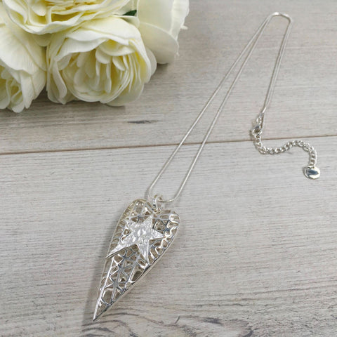 Silver Long Heart Necklace With Star | Two Spotty Dogs