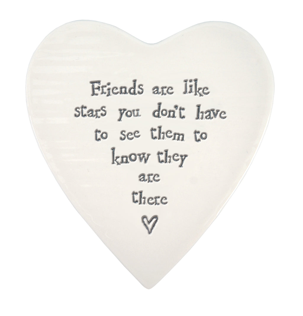 Friends are like stars... Porcelain heart coaster-East of India 86
