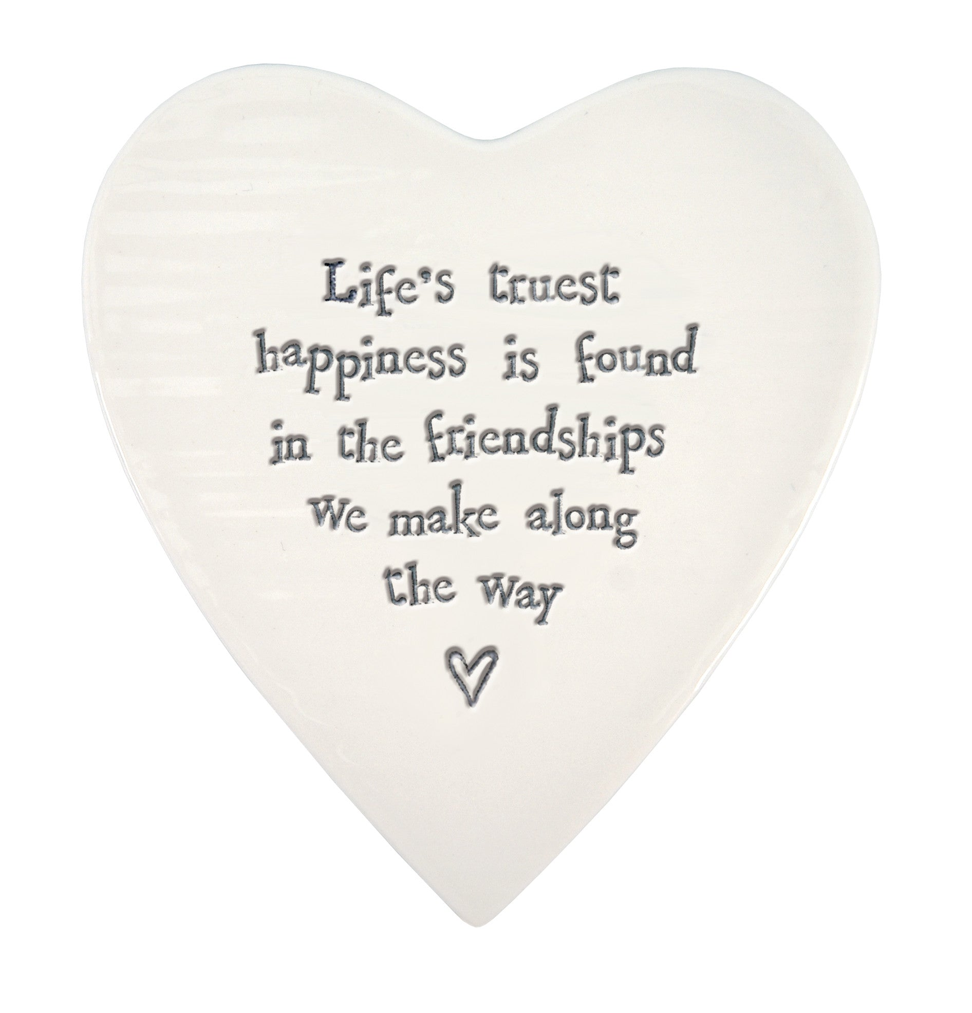 Life's truest happiness is found in friendships ... Porcelain heart coaster-East of India 87