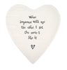 Wine improves with age... Porcelain heart coaster-East of India - 124