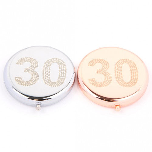 30th Compact Mirror (Silver Colour) by Love The Links - Two Spotty Dogs
