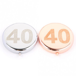 40th Compact Mirror (Silver Colour) by Love The Links - Two Spotty Dogs
