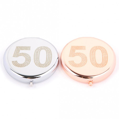 50th Compact Mirror (Silver Colour) by Love The Links - Two Spotty Dogs