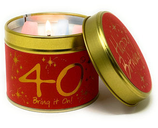 Happy 40th Birthday Tinned Candle by Lily Flame