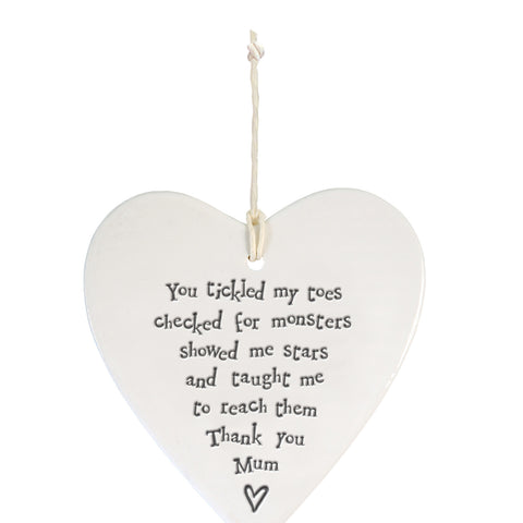 You tickled my toes... Porcelain Hanging Heart-East of India 4209
