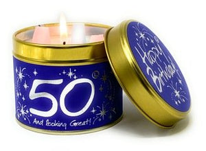 Happy 50th Birthday - Tinned Candle from Lily-Flame