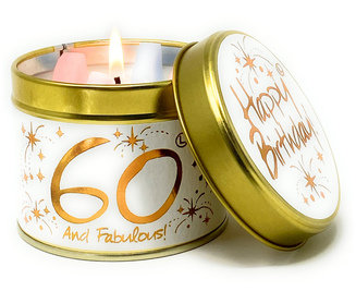 Happy 60th Birthday - Tinned Candle by Lily-Flame
