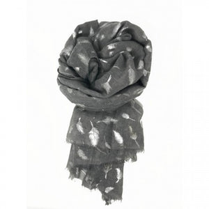 Silver Grey Feather Scarf by Love The Links