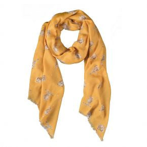 Wrendale Designs Leaping Hare Scarf - Honeycomb. SCF003