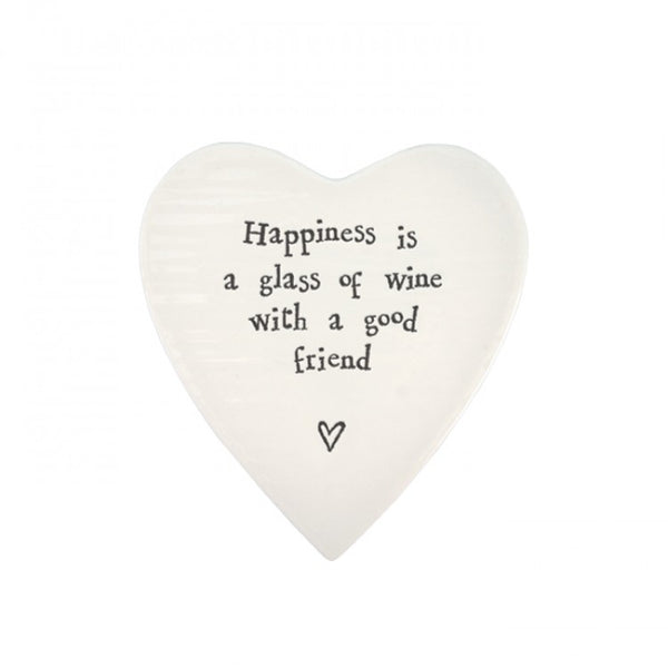 Happiness is a glass of wine... Porcelain heart coaster-East of India - 99