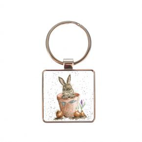 The Flower Pot (Rabbit) Keyring by Wrendale Designs