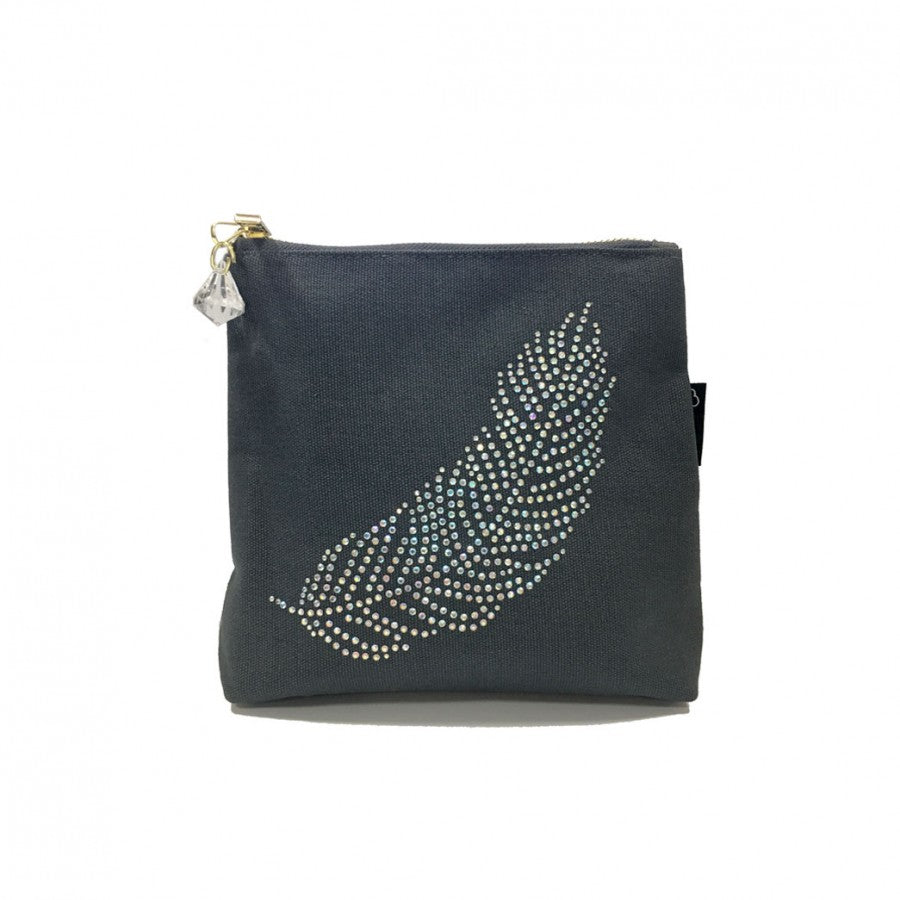 Grey Rhinestone Feather Bag by Love The Links  - 30% off NOW ONLY 10.50