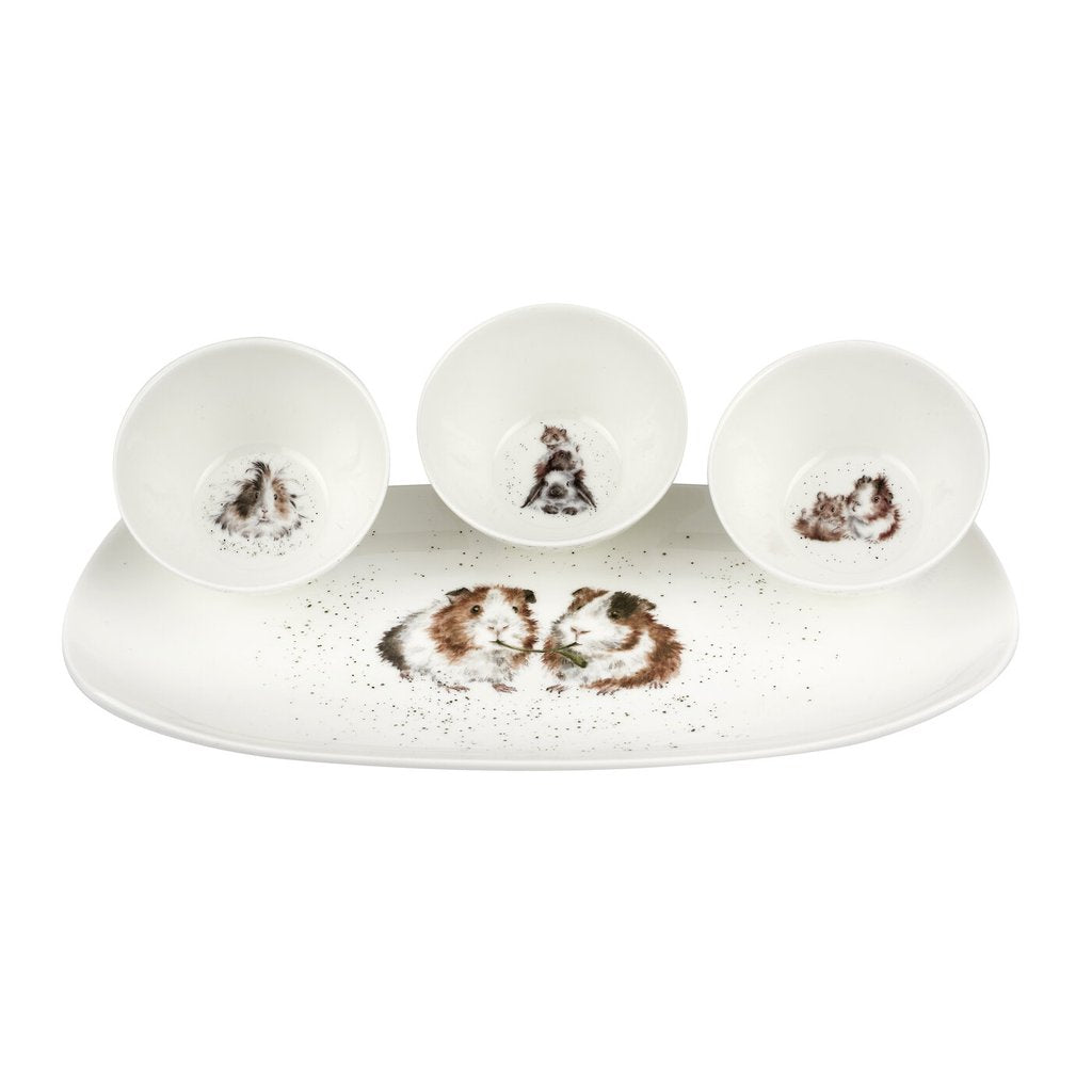 Guinea Pig 3 Bowl & Tray Set by Wrendale Designs