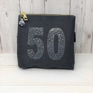 Grey Rhinestone 50th Birthday Bag by Love The Links  - 30% off NOW ONLY 10.50