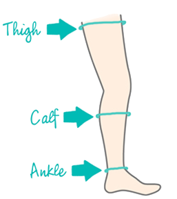 where to measure for ankle calf and thigh