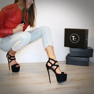 Black Suede Cage Ankle Platform Shoes - Tajna Club
