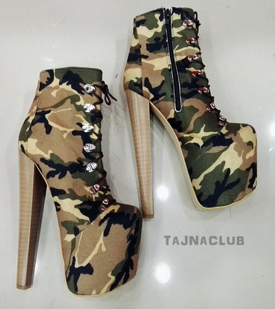 Camouflage Ankle High Heel Lace-Up Booties - Tajna Club