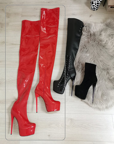 Red Patent 100 cm Extreme Ultra High Thigh Boots - Tajna Club