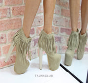 Cream Fringe Ankle Boots Platform High Heel Shoes - Tajna Club