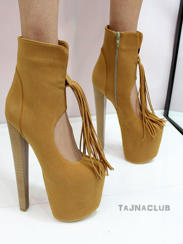 Ginger Suede Fringe Ankle Boots - Tajna Club