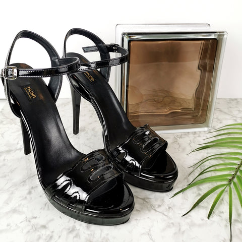 5.11 inches Black Gloss Lazer Heel Sandals - Tajna Club