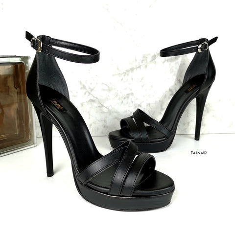 5.11 inches Black High Heel Sandals - Tajna Club