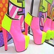 Pink Yellow Ankle Boots Platform High Pink Heel Shoes - Tajna Club