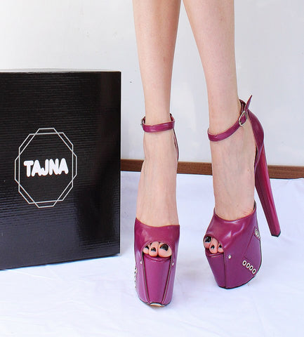 Purple Pink 19  cm High Heel Eyelet Shoes - Tajna Club
