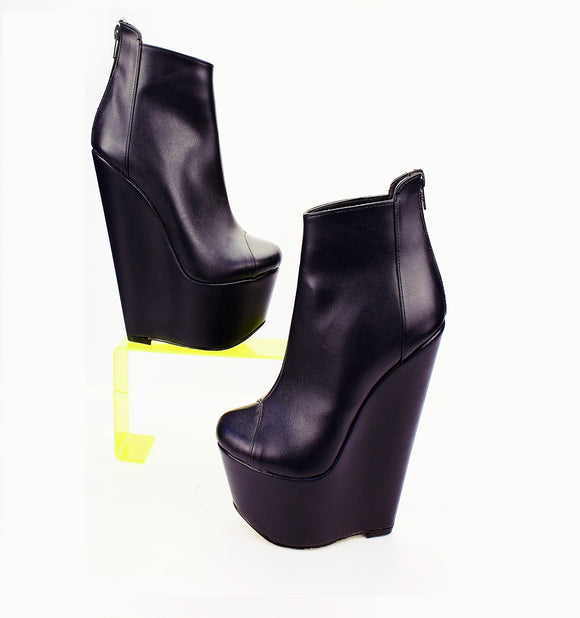 Dark Blue Navy Ankle 17 cm Heel Wedge Booties - Tajna Club