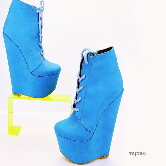 Blue Lace Up Ankle 17 cm Heel Wedge Booties - Tajna Club