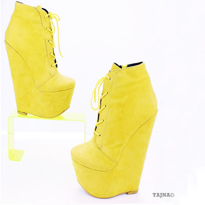 Yellow Faux Suede Lace Up Ankle 17 cm Heel Wedge Booties - Tajna Club