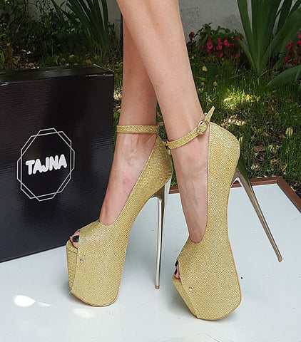 Gold Sparkle Ankle Strap High Heels - Tajna Club